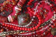 Fondo-jewerly rojo Fotografía de archivo