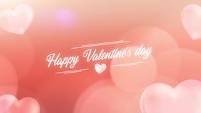 Fondo 4K del extracto del día de tarjeta del día de San Valentín de los corazones de la partícula que vuela stock de ilustración