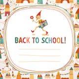 Fondo a la escuela de los niños 'de nuevo' con las casas y el muchacho Foto de archivo