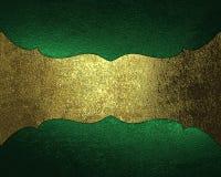Fondo lamentable verde con la placa de oro antigua Elemento para el diseño Plantilla para el diseño copie el espacio para el foll stock de ilustración