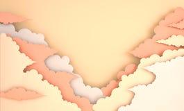 Fondo lanuginoso variopinto delle nuvole di arte di carta con il posto per testo 3d moderni rendono lo stile di arte della carta  illustrazione di stock