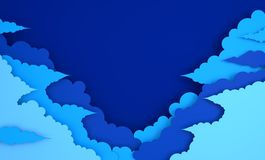 Fondo lanuginoso variopinto delle nuvole di arte di carta con il posto per testo 3d moderni rendono lo stile di arte della carta  illustrazione vettoriale