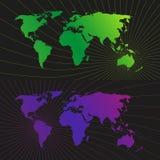 Fondo leggero della rete del mondo di posizione Immagine Stock