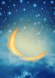 Fondo leggiadramente di notte astratta con le stelle, la luna e le nuvole Immagini Stock