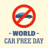 Fondo libre del día del coche del mundo, estilo plano ilustración del vector