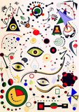 Fondo ligero abstracto, pintor del ` de Miro del estilo Foto de archivo libre de regalías
