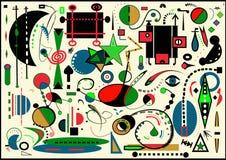 Fondo ligero abstracto, pintor del ` de Miro del estilo Imagen de archivo libre de regalías