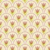 Fondo ligero clásico con los pequeños tulipanes en área beige Foto de archivo libre de regalías