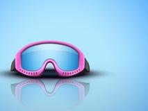 Fondo ligero con las gafas rosadas del esquí Vector Foto de archivo