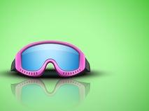 Fondo ligero con las gafas rosadas del esquí Vector Imágenes de archivo libres de regalías