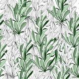 Fondo ligero de las hojas blancas y verdes Textura natural para las telas, tejas Ornamento del vector stock de ilustración