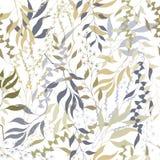 Fondo ligero del vintage de hojas Textura inconsútil de las hojas exhaustas del contorno en un fondo blanco Adorne para adornar libre illustration