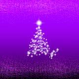 Fondo lilla astratto con l'albero di Natale, le onde e le luci Illustrazione di Natale Immagini Stock