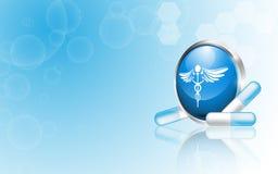 Fondo limpio del concepto de la farmacia médica del vector Foto de archivo