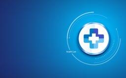 Fondo limpio del diseño de la atención sanitaria con el botón cruzado médico del círculo del símbolo del doctor de la clínica del Fotografía de archivo libre de regalías