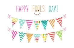 Fondo lindo de April Fools Day como banderas coloridas festivas del empavesado Fotografía de archivo