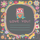 Fondo lindo del amor de los búhos. Plantilla para el saludo de la historieta del diseño Foto de archivo