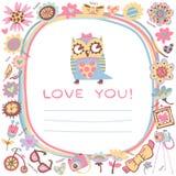 Fondo lindo del amor de los búhos. Plantilla para el saludo de la historieta del diseño Imagen de archivo