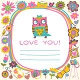 Fondo lindo del amor de los búhos. Plantilla para el saludo de la historieta del diseño Imagen de archivo libre de regalías
