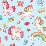 Fondo lindo del bosquejo del potro del bebé de la historieta Los sueños dulces del milagro con unicornio mágico, las nubes y el a stock de ilustración