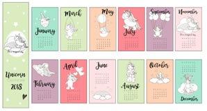 Fondo lindo del calendario del unicornio en vector Foto de archivo libre de regalías
