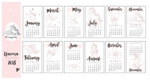 Fondo lindo del calendario del unicornio en vector Imagen de archivo libre de regalías