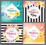 Fondo lindo del día feliz de la madre s con las tarjetas determinadas de la colección de las flores Ilustración del vector Imagen de archivo libre de regalías