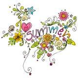 Fondo lindo del verano del doodle Imagen de archivo libre de regalías