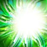 Fondo linear azul y verde del dibujo con efecto lighing del círculo Fotografía de archivo libre de regalías