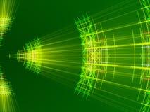 Fondo, linee e luce astratti verdi Immagini Stock
