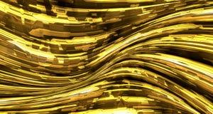 Fondo liquido astratto del metallo dell'oro Fotografie Stock
