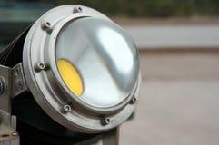 Fondo llevado de las tecnologías de la lente del proyector de la lámpara Lámpara de Eco Concepto del rendimiento energético imagen de archivo libre de regalías