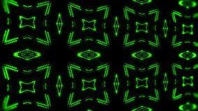 Fondo llevado verde del movimiento del lazo del caleidoscopio VJ de las partículas que brilla intensamente