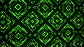 Fondo llevado verde del movimiento del lazo de los cuadrados VJ de las partículas que brilla intensamente stock de ilustración