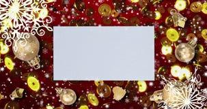 Fondo loopable inconsútil rojo chino del Año Nuevo con las monedas, copos de nieve 4k almacen de video