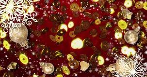 Fondo loopable inconsútil rojo chino del Año Nuevo con las monedas, copos de nieve 4k metrajes