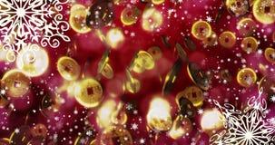 Fondo loopable inconsútil rojo chino del Año Nuevo con las monedas, copos de nieve 4k