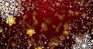 Fondo loopable inconsútil rojo del Año Nuevo con los copos de nieve de oro 4k stock de ilustración