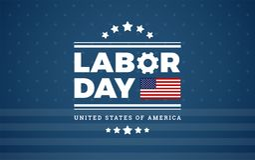 Fondo los E.E.U.U. - fondo azul con las estrellas, raya del logotipo del Día del Trabajo stock de ilustración