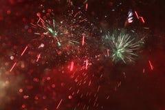 fondo, luci di scintillio e sovrapposizione astratti del fuoco d'artificio Fotografie Stock Libere da Diritti