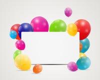 Fondo lucido del biglietto di auguri per il compleanno dei palloni di colore Immagine Stock Libera da Diritti