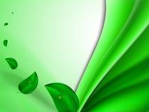 Fondo luminoso astratto di estate con le foglie verdi che volano nel vento e nelle bande verdi verticali Fotografia Stock