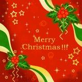 Fondo luminoso con il vischio di Natale Fotografia Stock