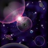 Fondo luminoso cosmico, collisione dei pianeti dello spazio Immagini Stock