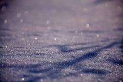 Fondo luminoso di inverno Il Natale abbellisce con i cumuli di neve ed i rami del pino nel gelo fotografia stock
