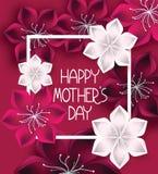 Fondo luminoso di progettazione floreale con i desideri di festa della mamma Fotografia Stock