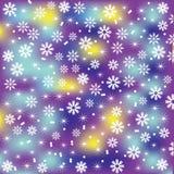 Fondo luminoso e sveglio di Natale con i fiocchi di neve per desig Immagini Stock