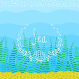 Fondo luminoso variopinto sul tema del mare Struttura di divertimento disegnata a mano per il vostro testo Immagini Stock