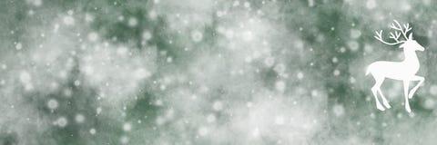 Fondo lungo verde dell'insegna con i cervi e la neve Fotografie Stock Libere da Diritti