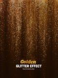 Fondo mágico del brillo en color oro Contexto del cartel con los elementos del brillo Imagenes de archivo